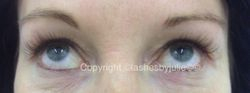 with lvl lash lift and a few lash extensions for impact